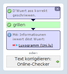 Luxogramm am Mini-Spellchecker